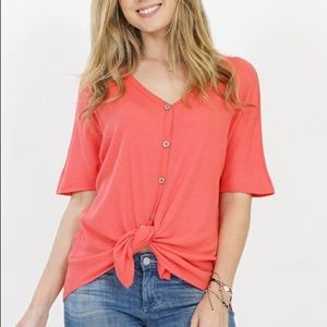 Socialite Coral tie front waffle tee